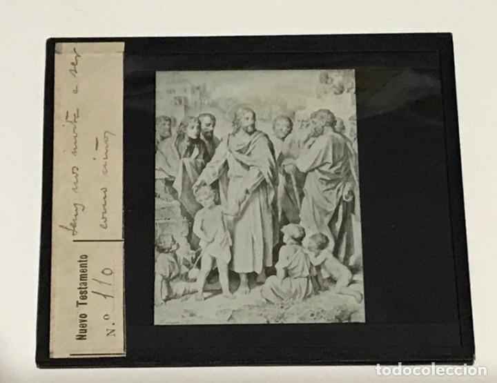 Antigüedades: 9 DIAPOSITIVAS EN CRISTAL PARA LINTERNA MÁGICA- NUEVO TESTAMENTO- PINTADAS A MANO - Foto 6 - 264986699