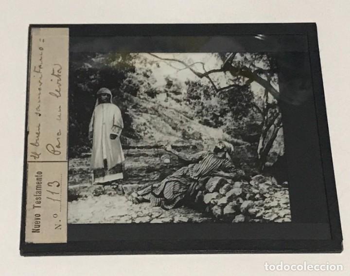 Antigüedades: 9 DIAPOSITIVAS EN CRISTAL PARA LINTERNA MÁGICA- NUEVO TESTAMENTO- PINTADAS A MANO - Foto 7 - 264986699