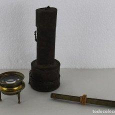 Antigüedades: CUENTAHILOS, LUPA DE MAPAS, EN SU ESTUCHE ORIGINAL CON METRO DE LATÓN. PRINCIPIOS SIGLO XX. Lote 265123634
