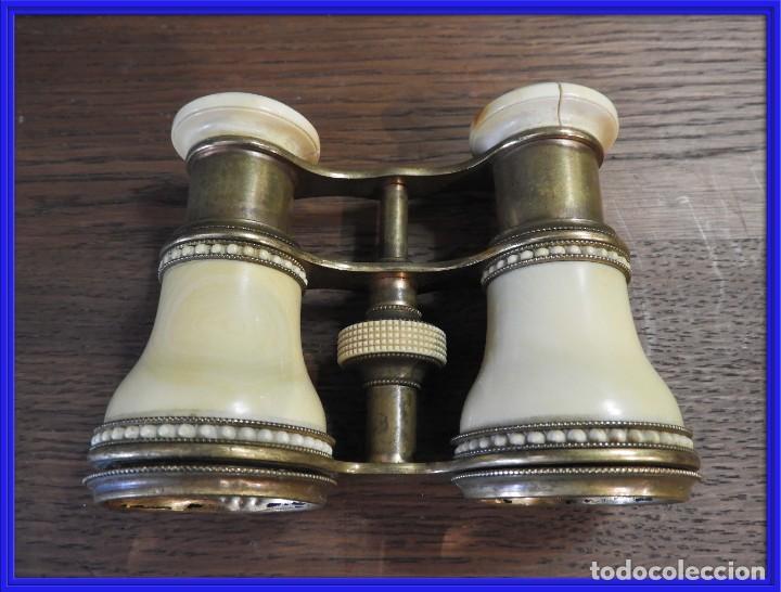 ANTIGUOS ANTEOJOS PRISMATICOS DE TEATRO DE MARFIL (Antigüedades - Técnicas - Instrumentos Ópticos - Binoculares Antiguos)