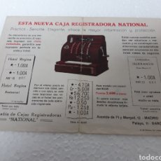 Antigüedades: PUBLICIDAD CAJA REGISTRADORA NATIONAL.. Lote 265465774