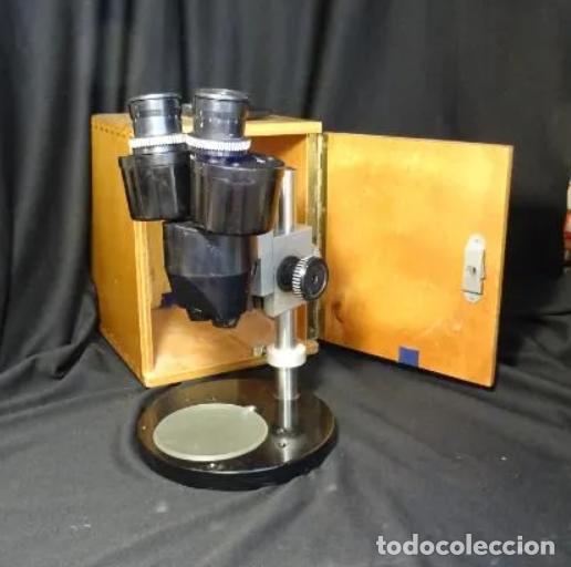 ANTIGUA LUPA BINOCULAR ESPAÑOLA. BOBES, CON SU CAJA, MICROSCOPIO, OPTICA, LABORATORIO (Antigüedades - Técnicas - Instrumentos Ópticos - Lupas Antiguas)