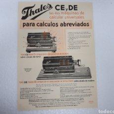 Oggetti Antichi: CARTEL PUBLICIDAD CALCULADORAS THALES. Lote 266047683