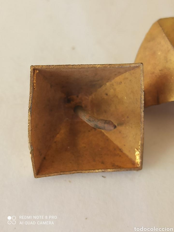 Antigüedades: Lote 14 clavos antiguos decorativos latón - Foto 6 - 266326588