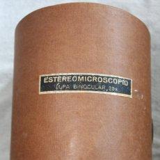 Antiquités: ESTEREOMICROSCOPIO LUPA BINOCULAR 20X 12MM.ENOSA . CON CAJA DE MADERA AÑOS 70. Lote 266400623