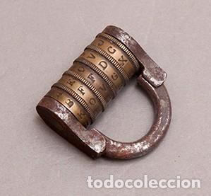 ANTIGUO CANDADO DE COMBINACION CON CODIGO DE ABERTURA POR 5 LETRAS - CERRADO (Antigüedades - Técnicas - Cerrajería y Forja - Candados Antiguos)