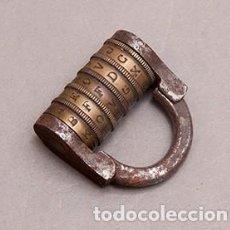 Antiquités: ANTIGUO CANDADO DE COMBINACION CON CODIGO DE ABERTURA POR 5 LETRAS - CERRADO. Lote 266525433