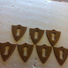 Antigüedades: LOTE 7 EMBELLECEDORES BOCA LLAVE ANTIGUOS. Lote 266544298