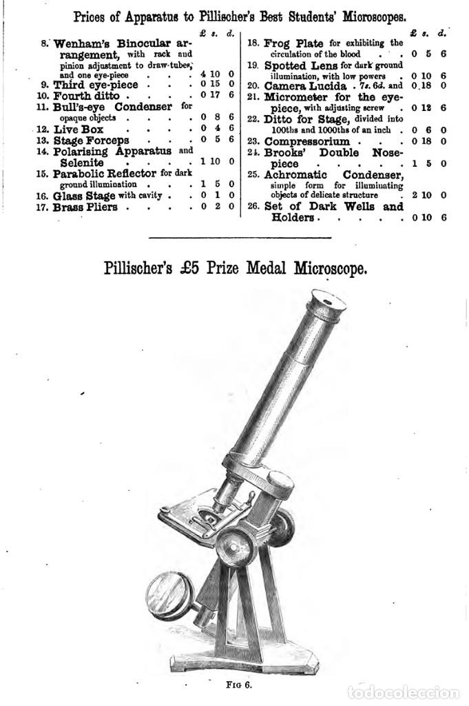 Antigüedades: ANTIGUO MICROSCOPIO INGLÉS PILLISCHER c.1860 - Foto 14 - 267165789