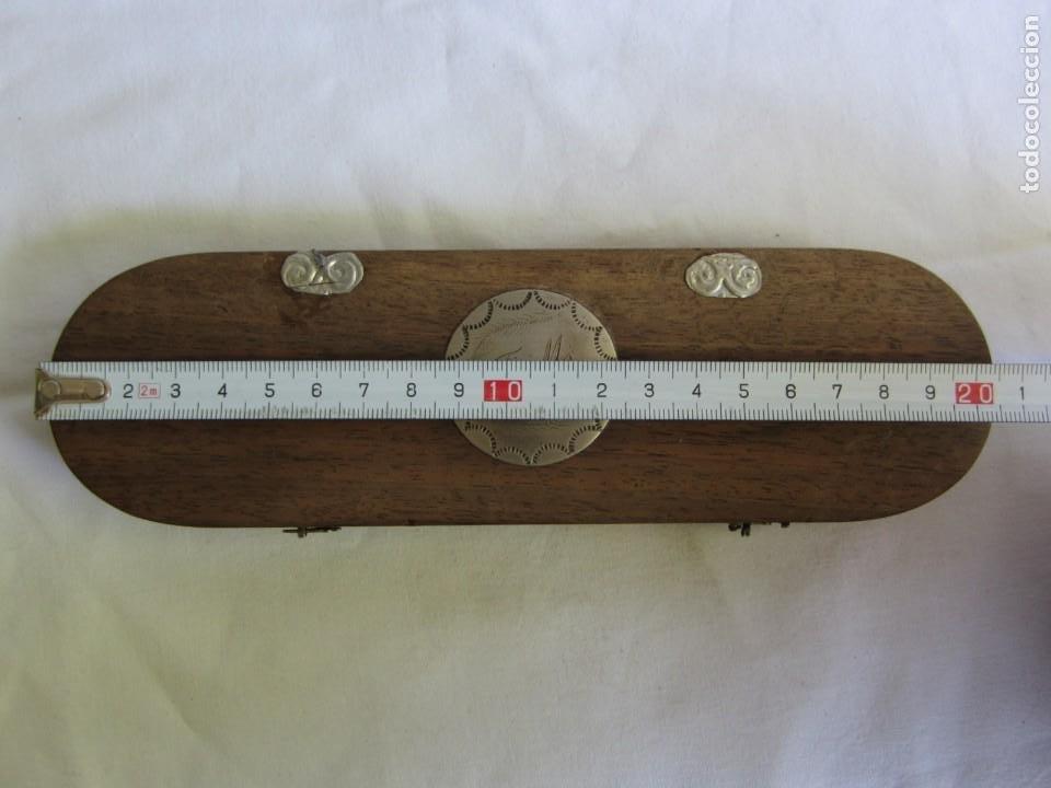 Antigüedades: Antigua balanza francesa en caja de madera con pesos y tabla de conversiones - Foto 8 - 267196104