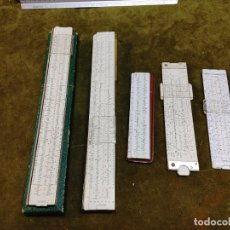 Antigüedades: LOTE 5 ANTIGUAS REGLAS DE CALCULO 3 FABER CASTELL, 1 NESTLER, 1 ARISTO ALEMANIA AÑOS 50-60. Lote 267307889