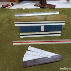 Antigüedades: LOTE 5 ANTIGUAS REGLAS DE ESCALAS ESCALIMETROS FABER CASTELL, ARISTO, TAKEDA'S, ERMO??. Lote 267308134