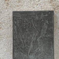 Antigüedades: PLANCHA IMPRENTA ILUSTRACION ILUSTRADOR LIBRO GRABADO IMPRESION MATEO 19X13,5CMS. Lote 267627764