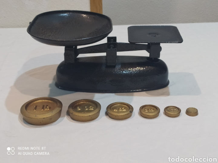 ANTIGUA BÁSCULA CON PESAS (Antigüedades - Técnicas - Medidas de Peso - Básculas Antiguas)