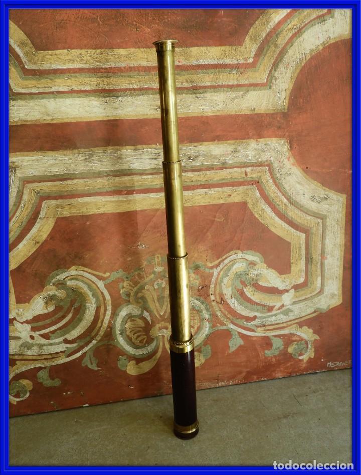 CATALEJO ANTIGUO DE BRONCE Y MADERA DE VARIAS LENTES (Antigüedades - Técnicas - Instrumentos Ópticos - Catalejos Antiguos)