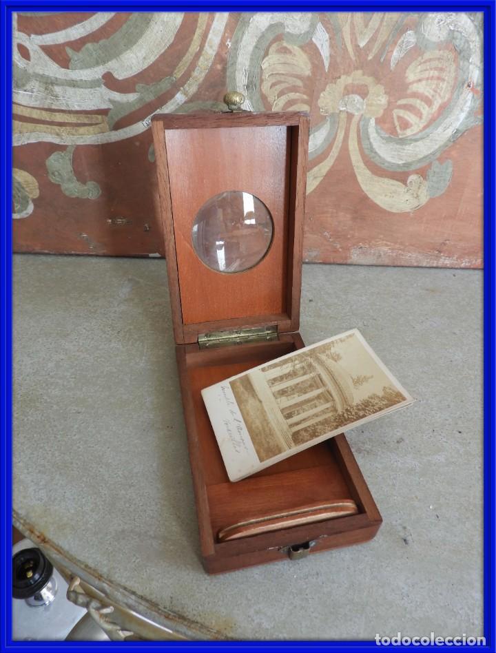 ESTEROSCOPIO ANTIGUO DE MADERA CON FOTOS DE PARIS (Antigüedades - Técnicas - Otros Instrumentos Ópticos Antiguos)