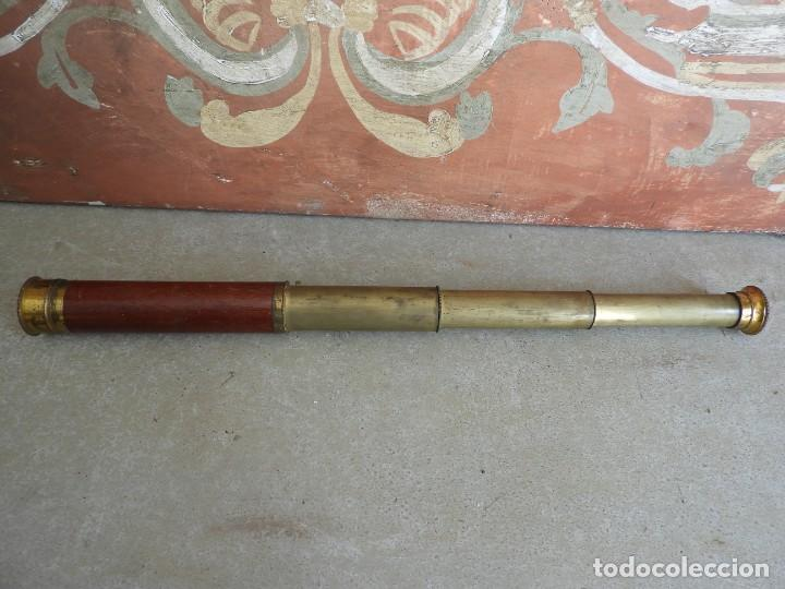 Antigüedades: CATALEJO ANTIGUO DE BRONCE Y MADERA DE VARIAS LENTES - Foto 8 - 267858974