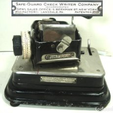 Antigüedades: ANTIQUE SAFE-GUARD CHECK WRITER COMPANY- MODEL Y -PENSYLVANIA 1917-ANTIGUA MARCADORA CHEQUES SEGURID. Lote 268132304