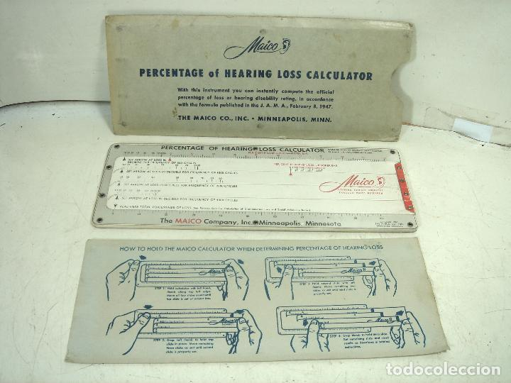 RARISIMA CALCULADORA PORCENTAJE PERDIDA AUDICION-MAICO 1949 USA-REGLA CALCULO HEARIN LOSS CALCULATOR (Antigüedades - Técnicas - Aparatos de Cálculo - Reglas de Cálculo Antiguas)