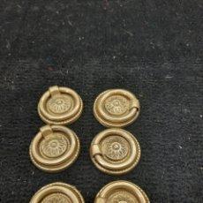 Antigüedades: 6 TIRADORES DE BRONCE. Lote 268726614