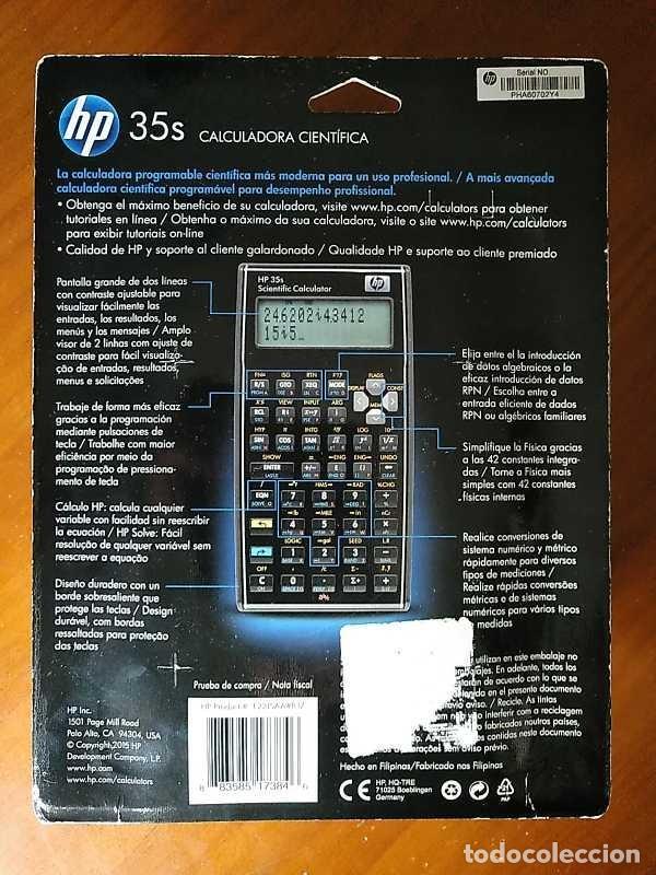 Antigüedades: HP 35S RPN CALCULADORA CIENTÍFICA HEWLETT PACKARD HP-35S PROGRAMABLE EN BLISTER SIN ABRIR SCIENTIFIC - Foto 55 - 268752579