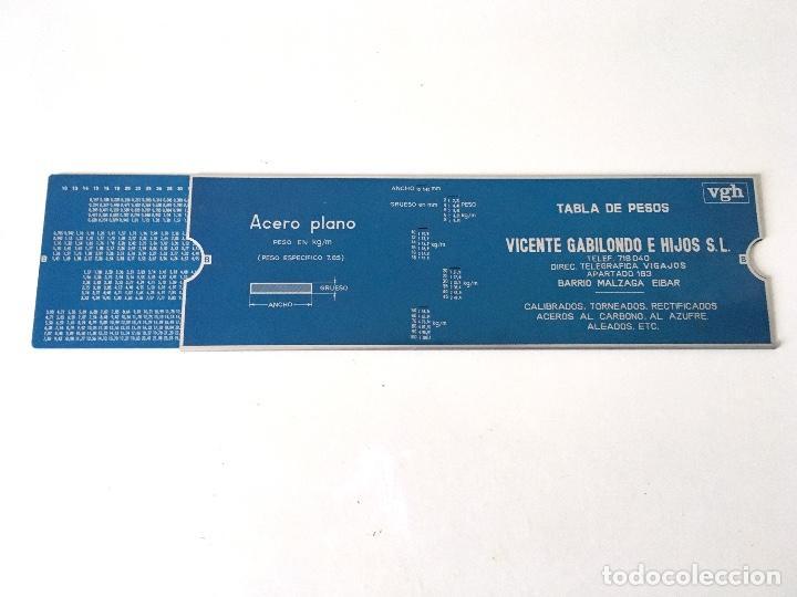 TABLA DE PESOS - ACERO PLANO BARRA - VGH VICENTE GABILONDO E HIJOS - EIBAR (Antigüedades - Técnicas - Aparatos de Cálculo - Reglas de Cálculo Antiguas)