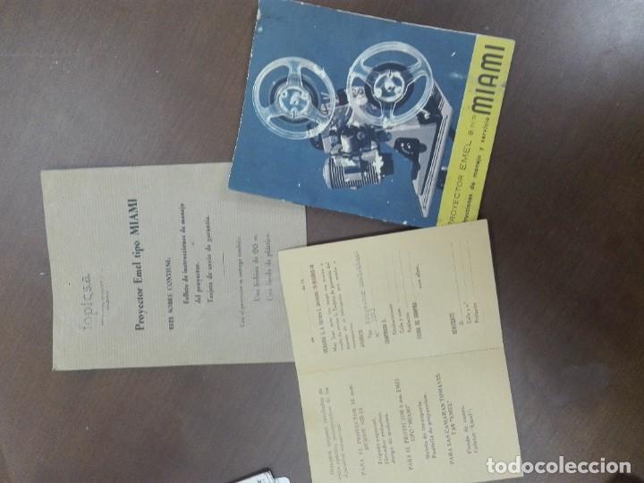 Antigüedades: JMFC- PROYECTOR DE CINE 8 MM EMEL MOD. MIAMI - FRANCE - CON MALETA TRANSPORTE Y DOCUMENTOS - AÑOS 50 - Foto 5 - 268799629