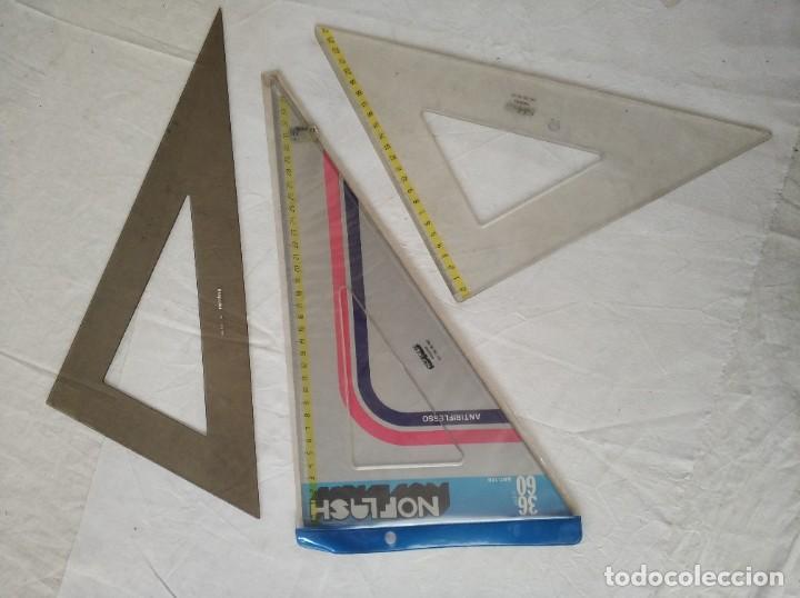 LOTE DE 3 REGLAS ESCUADRAS (Antigüedades - Técnicas - Aparatos de Cálculo - Reglas de Cálculo Antiguas)