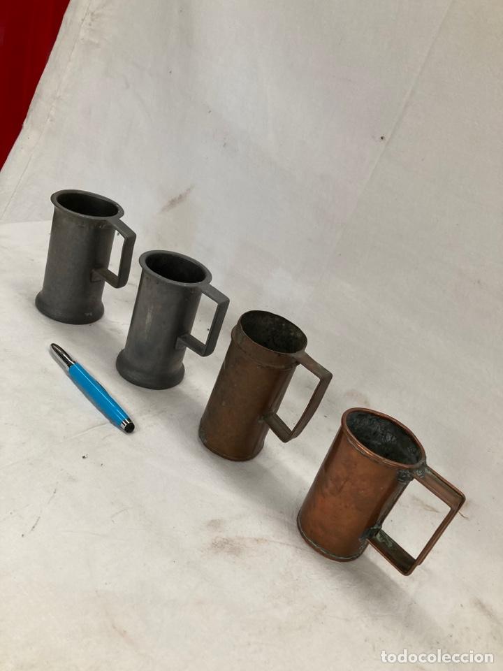 LOTE DE MEDIDORES ANTIGUOS,COBRE Y ESTAÑO (Antigüedades - Técnicas - Medidas de Peso Antiguas - Otras)