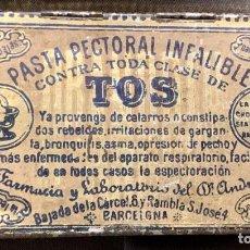 Antigüedades: CAJA METÁLICA. PASTA PECTORAL INFALIBLE. TOS. DR. ANDREU. AÑOS 20-30. Lote 268931799
