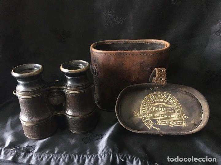 ANTIGUOS BINOCULARES CON FUNDA, PERTENECÍAN A UN INDIANO EN CUBA (Antigüedades - Técnicas - Instrumentos Ópticos - Binoculares Antiguos)