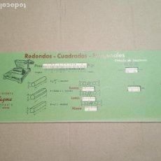 Antigüedades: REGLA EN CARTON PESO DE LOS HIERROS PLANOS. ED. VAGMA. Nº 6. 25 X 10 CM. Lote 269573138