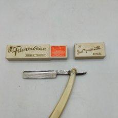 Antigüedades: NAVAJA DE BARBERO - FILARMÓNICA N°14 JOSÉ MONSERRAT POU.. Lote 270106048