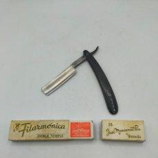 Antigüedades: NAVAJA DE BARBERO - FILARMÓNICA N°14 JOSÉ MONSERRAT POU. COLOR NEGRA. Lote 270107233