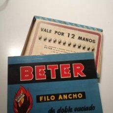 Antigüedades: CAJA GRANDE CUCHILLAS BETER VACÍA VALE POR 12 MANOS CON LISTA DE OBSEQUIOS. Lote 270194383