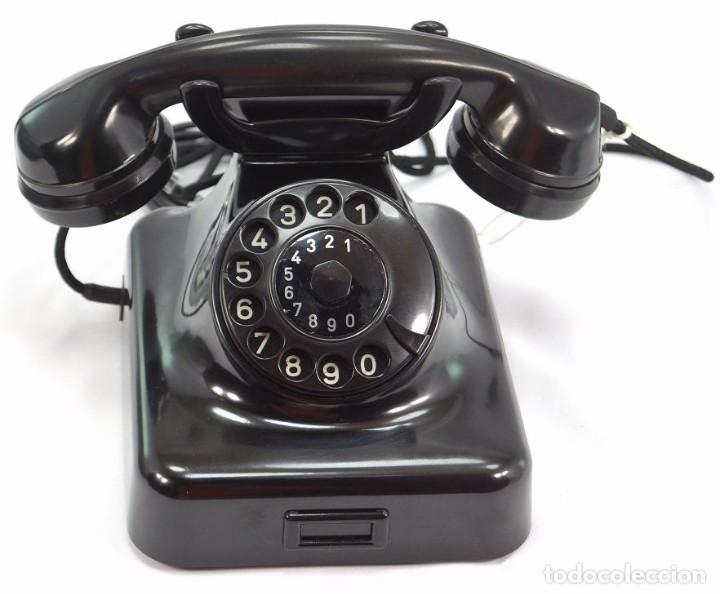 TELÉFONO DE BAQUELITA MARCA W-48 -TOTALMENTE RESTAURADO FUNCIONANDO -68965/4 - AGOSTO 1955 (Antigüedades - Técnicas - Teléfonos Antiguos)