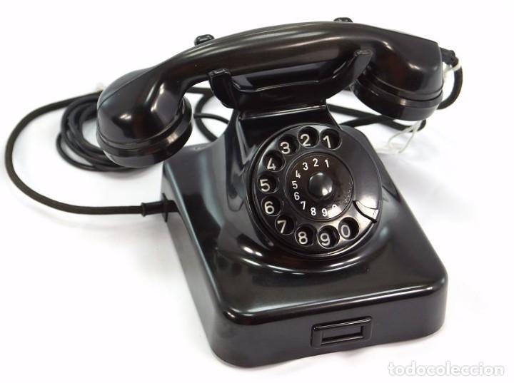 TELÉFONO DE BAQUELITA MARCA W-48 -TOTALMENTE RESTAURADO FUNCIONANDO 68965/7 - AÑO 1960 (Antigüedades - Técnicas - Teléfonos Antiguos)