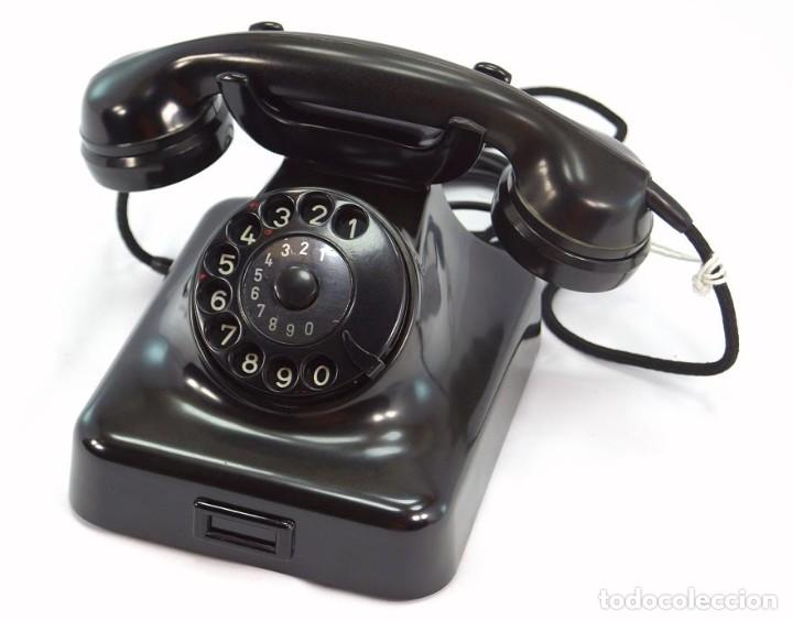 TELÉFONO DE BAQUELITA MARCA W-48 -TOTALMENTE RESTAURADO FUNCIONANDO - 68965/9 - AGOSTO 1954 (Antigüedades - Técnicas - Teléfonos Antiguos)