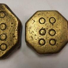 Antigüedades: CONJUNTO DE 3 PESAS PONDERAL DIFERENTES MALLORQUINAS. Lote 270379748