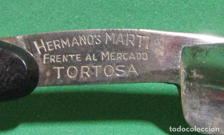 Antigüedades: TORTOSA NAVAJA FILARMONICA JOSE MONTSERRAT POU 14 DOBLE TEMPLE GRABADO POSTERIOR HERMANOS MARTI - Foto 5 - 270637458