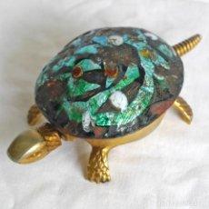 Antiquités: TIMBRE DE SOBREMESA EN FORMA DE TORTUGA BOJ EIBAR FUNCIONANDO. Lote 271399108