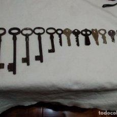 Antigüedades: LOTE 16 LLAVES DE HIERRO (LAS DE SIEMPRE, CUADRADILLO, PEQUEÑAS, ETC...). Lote 271496333