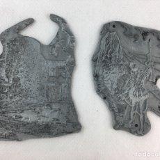 Antigüedades: DOS TAMPONES PLACAS SELLOS PLANCHAS DE IMPRENTA METALICA.. Lote 272970543