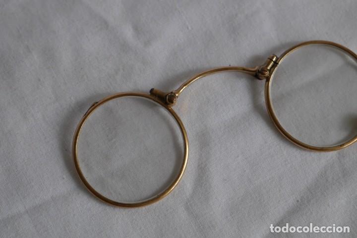 Antigüedades: Gafas graduadas con asa (sin patillas) plegables, baño de oro - Foto 4 - 273347673