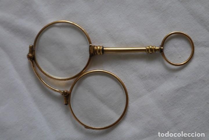 Antigüedades: Gafas graduadas con asa (sin patillas) plegables, baño de oro - Foto 5 - 273347673