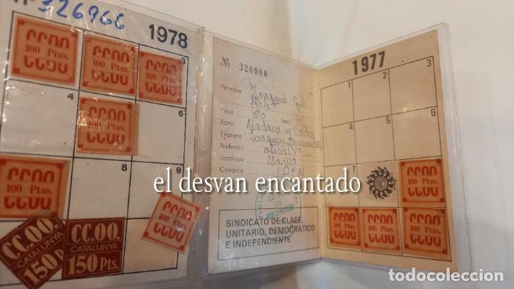 Antigüedades: COMISION OBRERA NACIONAL DE CATALUÑA. Carnet con cotizaciones 1977-78 - Foto 2 - 274253873
