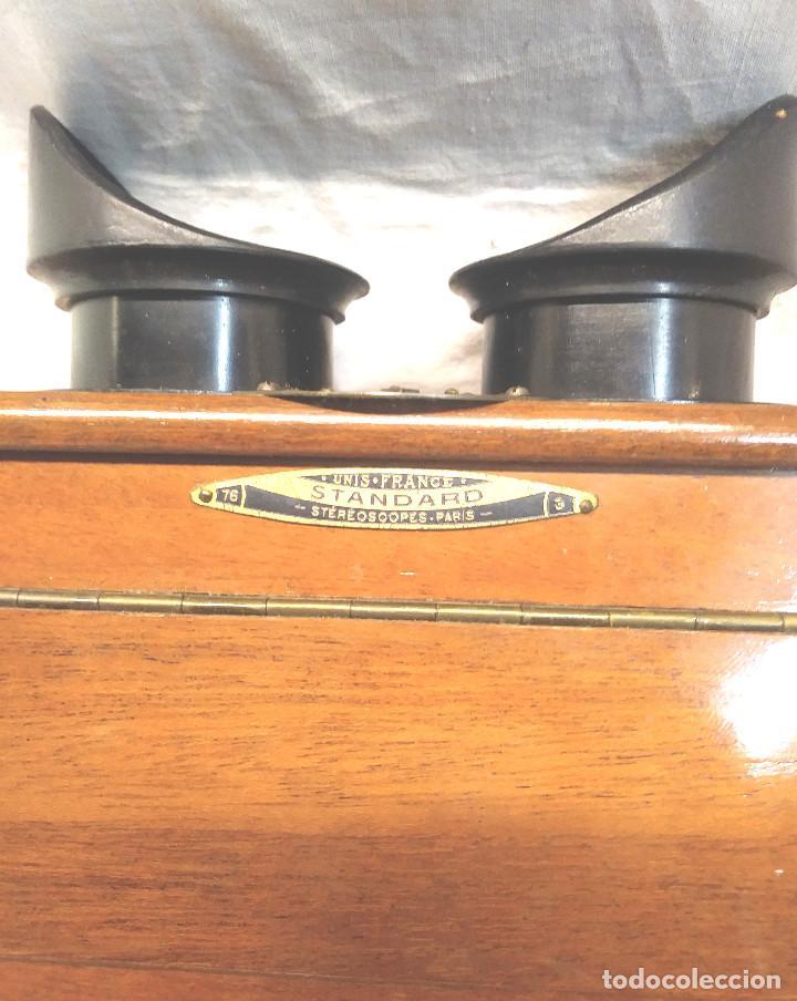 Antigüedades: Unis Visor Esteroscópico madera de Caoba S XIX, Completo todo de Origen, Buen Estado - Foto 3 - 274810508