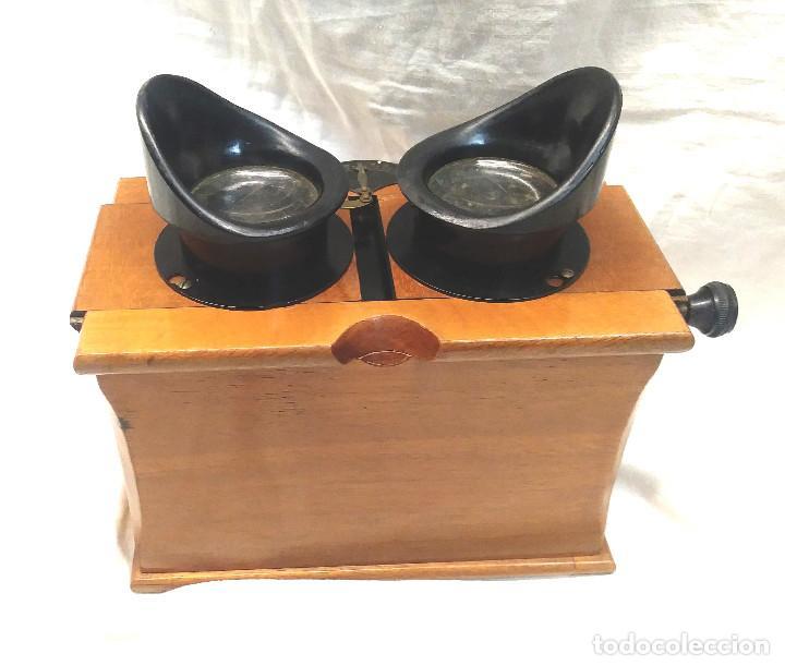 Antigüedades: Unis Visor Esteroscópico madera de Caoba S XIX, Completo todo de Origen, Buen Estado - Foto 4 - 274810508