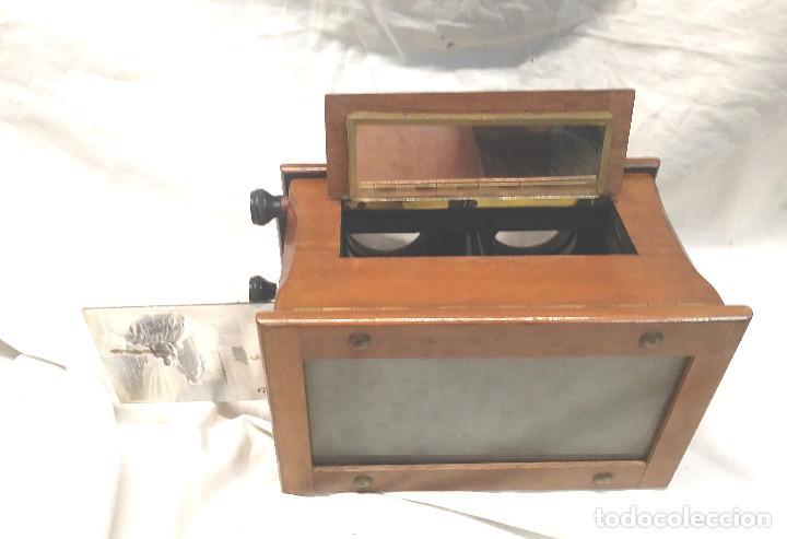 Antigüedades: Unis Visor Esteroscópico madera de Caoba S XIX, Completo todo de Origen, Buen Estado - Foto 7 - 274810508