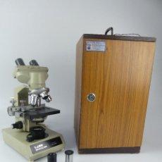 Antigüedades: MICROSCOPIO MARCA LABO HL-81-B EN SU CAJA ORIGUINAL. Lote 275102958